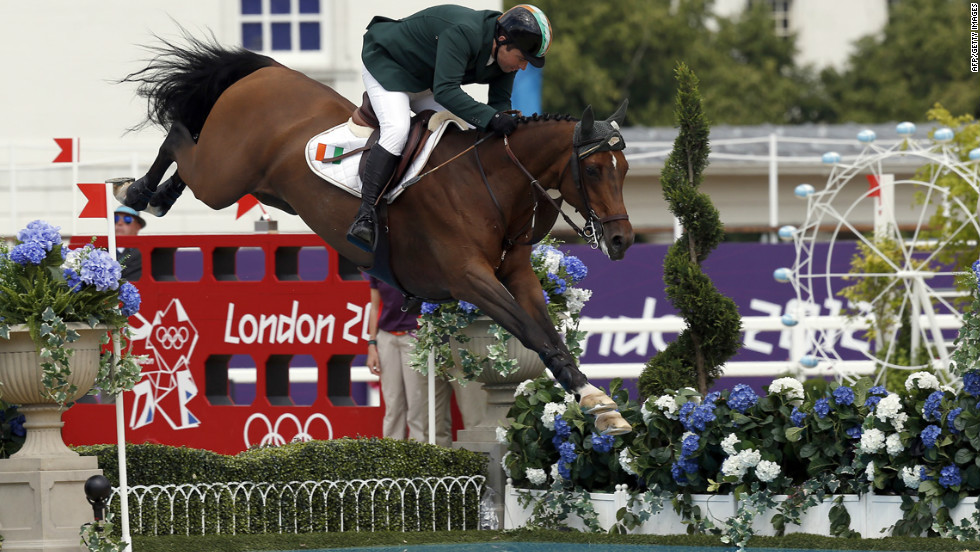Ireland's Cian O'Connor on Blue Loyd 12 competes during the equestrian individual jumping event.