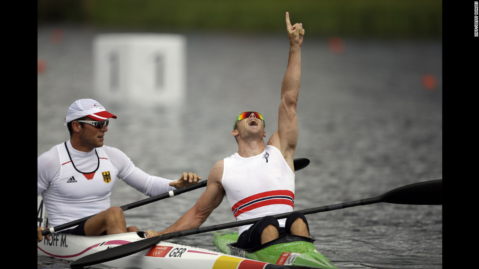 Eirik Veras Larsen of Norway celebrates the gold during the men's kayak single 1,000-meter canoe sprint finals in Windsor.