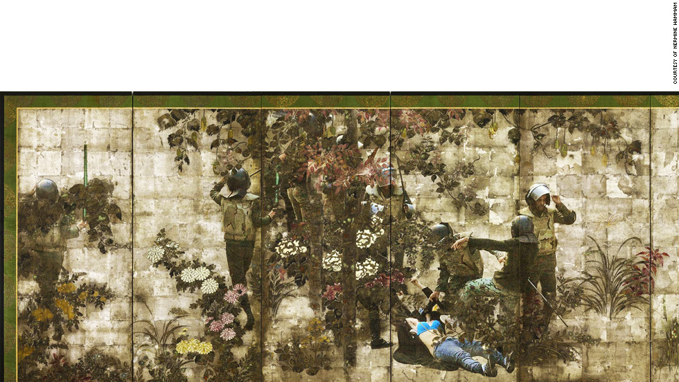 """A work from Hammam's """"Unfolding,"""" a series consisting of stylized Japanese landscapes, intersected with explicit footage, downloaded from the internet, of police brutality in the wake of the Egyptian revolution."""