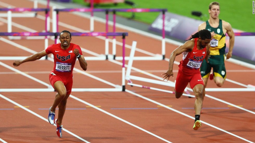 Aries Merritt of the United States crosses the finish line ahead of Jason Richardson of the United States on Wednesday.