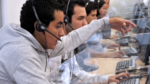 Telemarketing is a dying career according to Alan Townsend - bad news for these workers at a call center in Colombia.