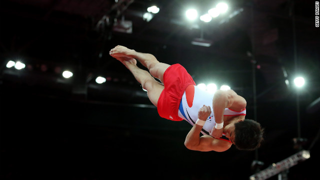 South Korean gymnast Yang Hak-seon competes in the Olympics men's vault final on Monday.