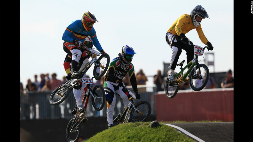 Brian Kirkham of Australia leads the field during the men's BMX cycling quarterfinals.