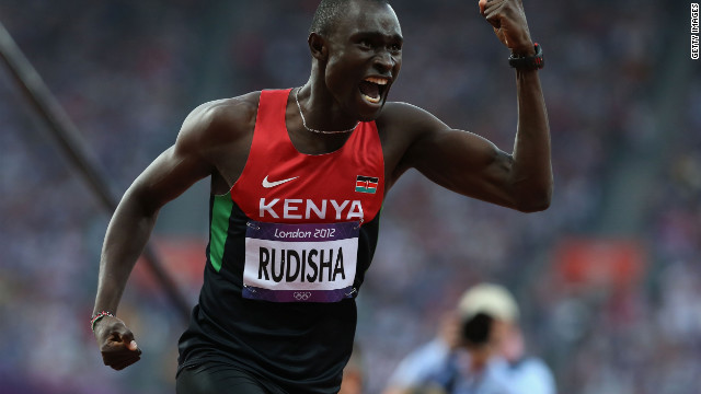 David Lekuta Rudisha of Kenya celebrates after winning gold and setting a new world record in the Men's 800m Final on Day 13 of the London 2012 Olympic Games at Olympic Stadium on August 9, 2012 in London, England. (Photo by Streeter Lecka/Getty Images)