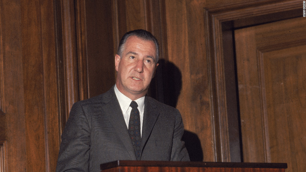 "A first-term governor of Maryland and virtually unknown on the national stage, Spiro Agnew was drafted by Richard Nixon, ahead of GOP giants like Ronald Reagan and Nelson Rockefeller, because Nixon didn't want to be outshined by his running mate. Agnew made a number of gaffes on the campaign trail, including calling a Japanese reporter a ""fat Jap."" After taking office, he pleaded no contest to tax evasion and money laundering while governor. Later, Agnew made history by becoming the only U.S. vice president to resign his office while under criminal investigation."