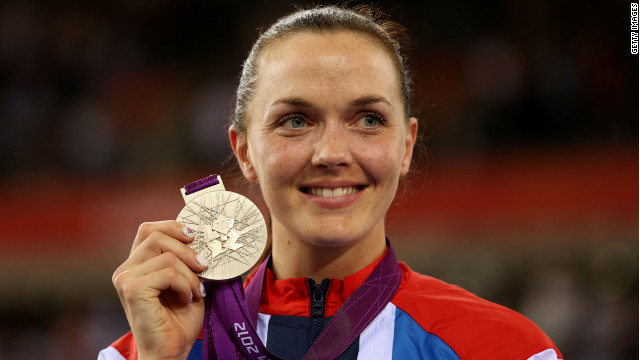 Silver medallist Victoria Pendleton of Great Britain celebrates during the medal ceremony for the Women's Sprint Track Cycling Final on Day 11 of the London 2012 Olympic Games at Velodrome on August 7, 2012 in London, England.
