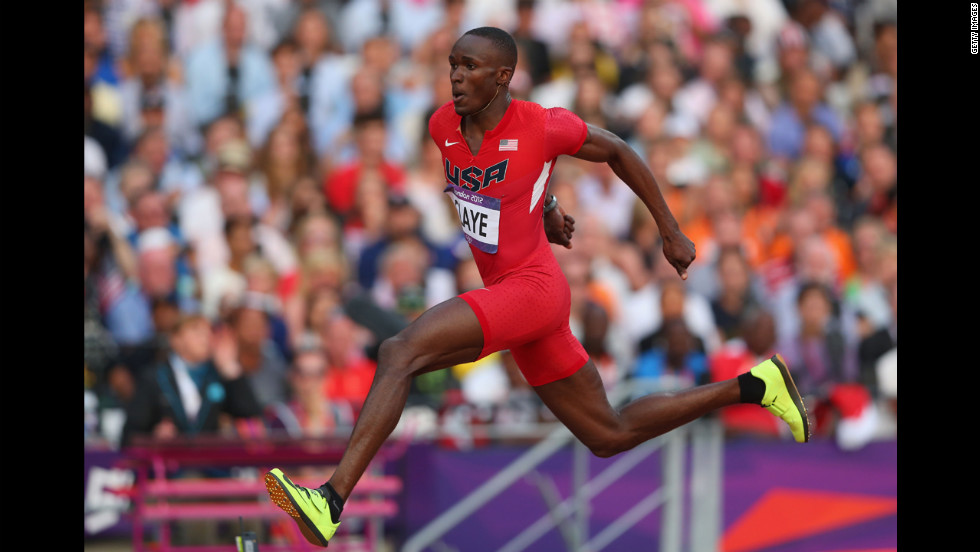 Will Claye of the United States competes during the men's triple jump final.