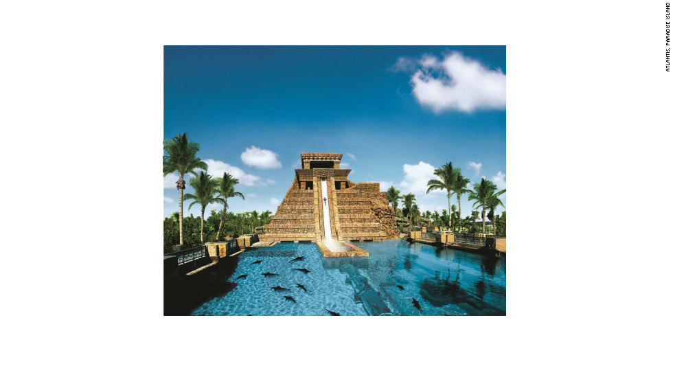The Leap of Faith, a 60-foot-tall, nearly perpendicular slide, cascades down a life-size replica of a Mayan temple.