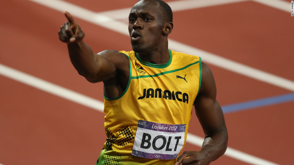 Usain Bolt of Jamaica celebrates after winning gold in the men's 200-meter final on Day 13 of the London 2012 Olympic Games. Hot on his heels, fellow Jamaican Yohan Blake came second.
