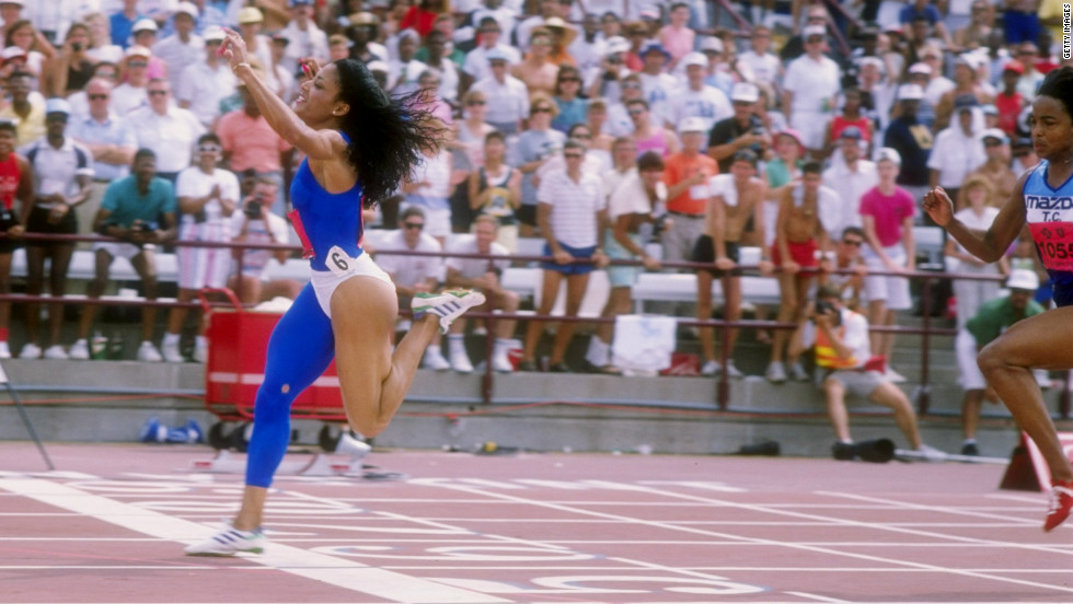 Flo Jo, as she became known, had an incredible series of runs at the 1988 U.S. Olympic Trial. In the quarterfinal she demolished the world record. It was a blustery day, but the technology recorded a wind speed of zero. The record still stands today.