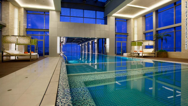 Most of the pool at Holiday Inn Shanghai Pudong Kangqiao is indoors, without the overhang.