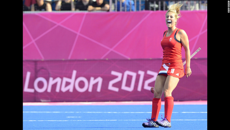 Britain's Georgie Twigg is jubilant after her team's second goal in the women's field hockey bronze medal match against New Zealand. Britain won 3-1.
