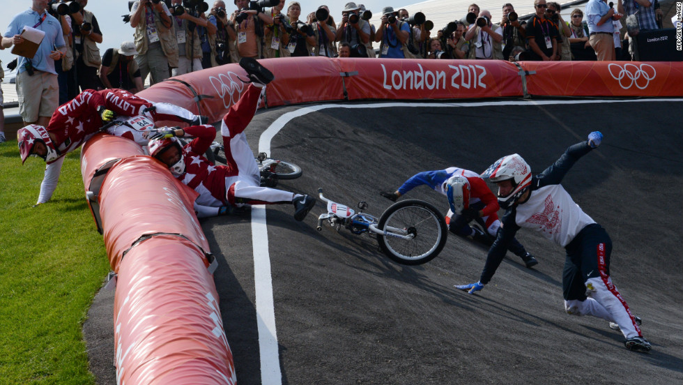 Cyclists crash during the BMX cycling men's semifinals.