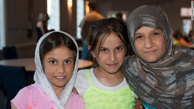 Left to right: Gulmina, Fatima, and Tamima during their stay in Charlotte, North Carolina, for medical treatment .