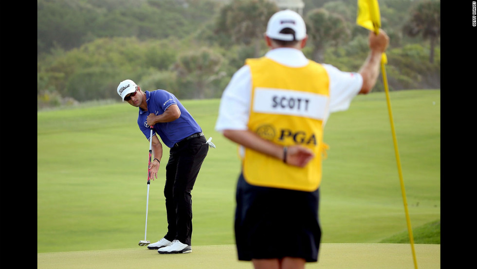 Australia's Adam Scott putts on the 11th green during the second round of the 94th PGA Championship.