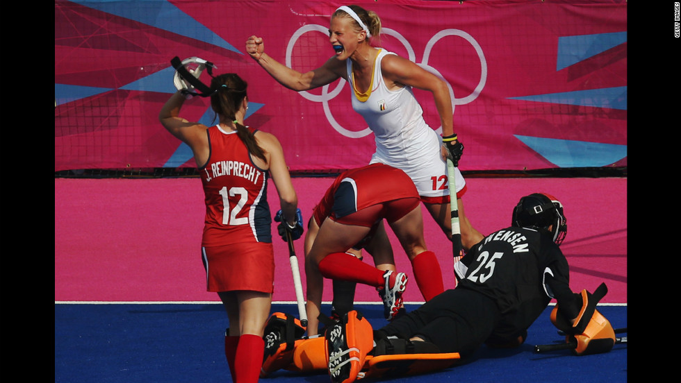 Belgium's Gaelle Valcke celebrates after scoring the match-winning goal against the United States during the women's field hockey classification match. Belgium won 2-1.