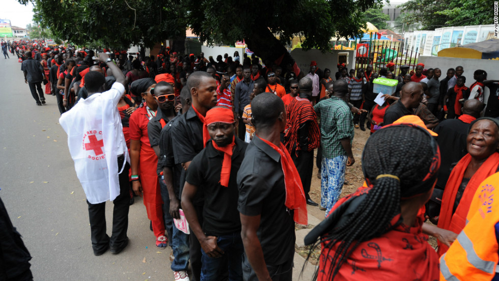 Thousands of Ghanaians wearing their traditional black garb and red tops paid respects to their late president. Part of a former British colony, Ghana was among the first African countries to gain independence, in 1957.