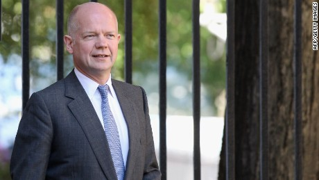 LONDON, ENGLAND - JULY 24: British Foreign Secretary William Hague arrives in Downing Street on July 24, 2012 in London, England. (Photo by Oli Scarff/Getty Images)