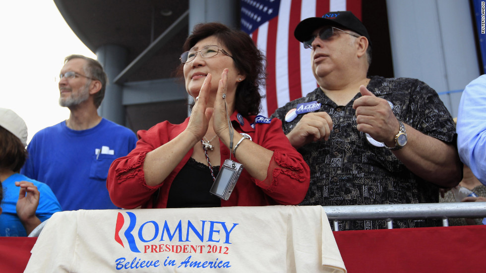 Romney supporters wait for him to introduce Ryan as his vice presidential running mate.
