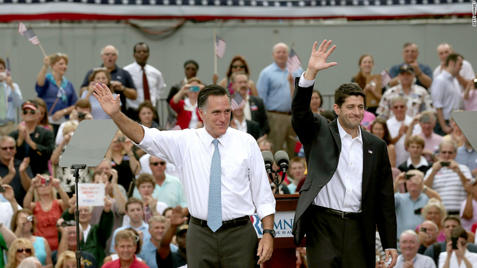 Mitt Romney, left, announces Rep. Paul Ryan as his running mate.