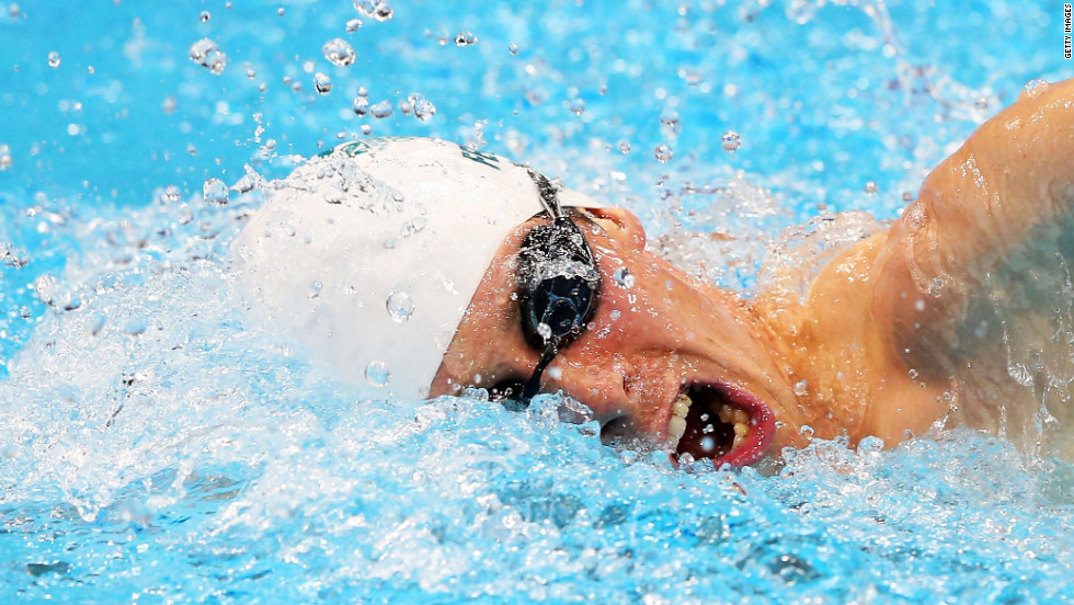 Australia's Ed Fernon competes in the 200-meter freestyle swimming event in the men's modern pentathlon.