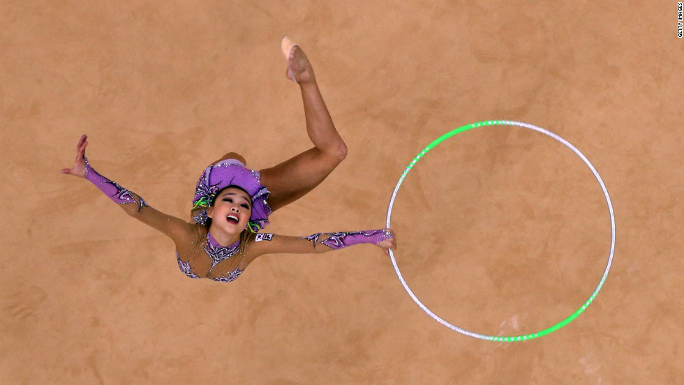 South Korea's Yeon Jae Son of competes during the individual all-around rhythmic gymnastics final.
