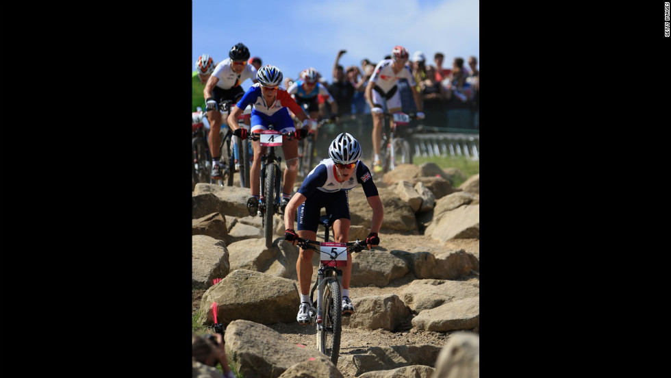 British cyclist Annie Last competes in the women's cross-country mountain bike race.
