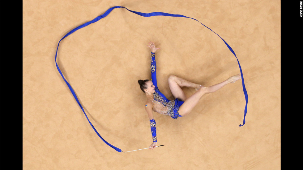 Ukraine's Ganna Rizatdinova competes during the Individual all-around rhythmic gymnastics final.