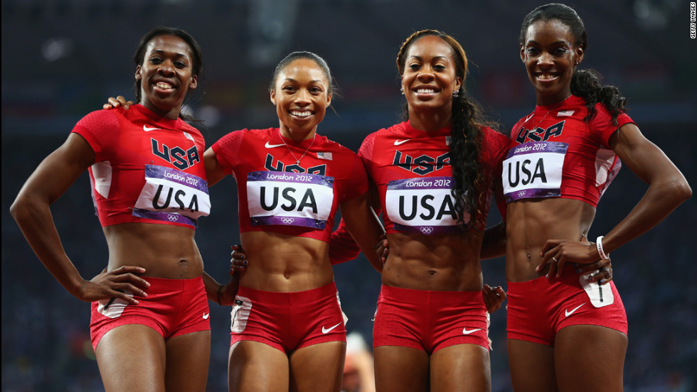 DeeDee Trotter, Allyson Felix, Sanya Richards-Ross and Francena McCorory, from left to right, are all smiles after winning gold in the women's 4x400-meter relay final.