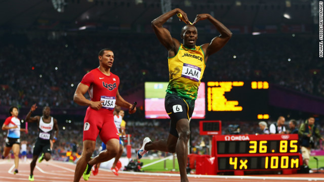 Usain Bolt  celebrates a new World Record in the Olympic 4x100 meter relay