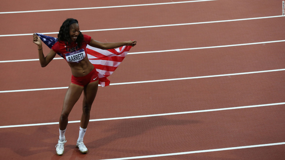 Brigetta Barrett of the United States celebrates winning silver after the women's high jump final.