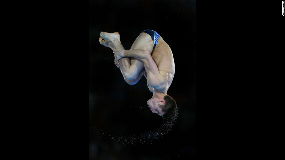 David Boudia performs in the men's 10-meter platform diving final.