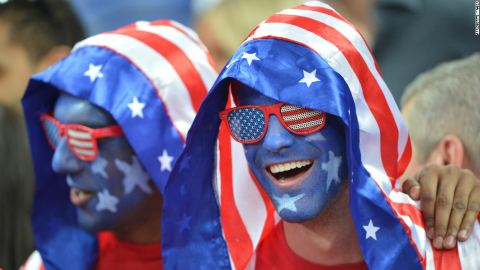 U.S. fans show their support at the men's gold medal basketball game between the United States and Spain at the North Greenwich Arena in London.