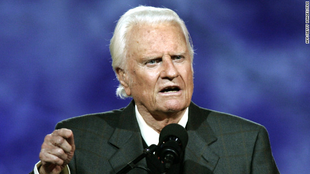 Billy Graham delivers a message at the Billy Graham Crusade at Flushing Meadows Park, New York,  in 2005.
