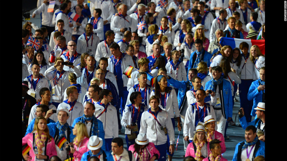 Athletes from Great Britain parade during the closing ceremony.