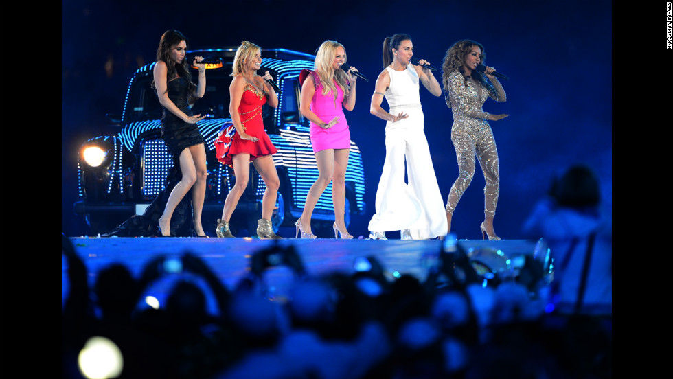 The Spice Girls perform at the Olympic stadium.