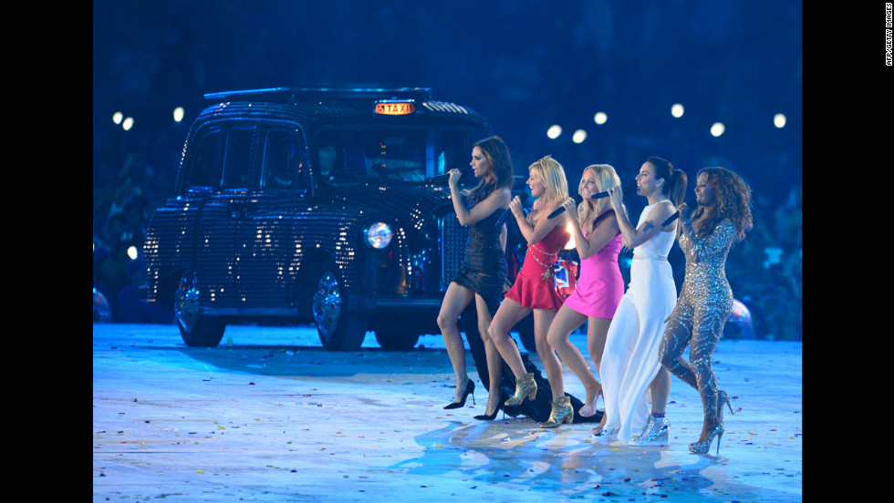 From left, Spice Girls  Victoria Beckham, Gerie Halliwell, Emma Bunton, Melanie Chisholm and Melanie Brown perform during the closing ceremony.
