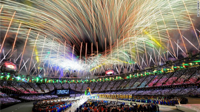 The Olympic Stadium in London erupts with a magnificent display of fireworks as the 30th Olympiad of the modern era ends.