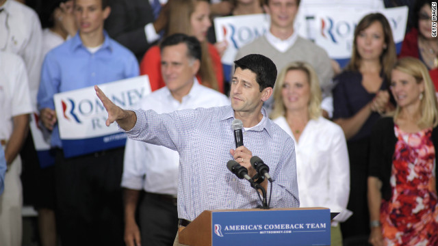 Republican vice presidential candidate Rep. Paul Ryan speaks during a campaign event on Sunday in Waukesha, Wisconsin.