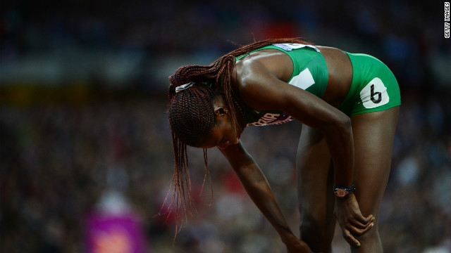 Disappointment for Nigeria's Muizat Ajoke Odumosu, who came last in the 400m hurdles final.