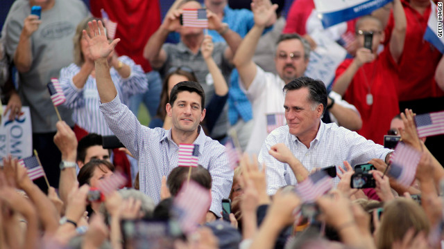 Mitt Romney and vice presidential candidate and Wisconsin native Rep. Paul Ryan greet supporters in Waukesha.