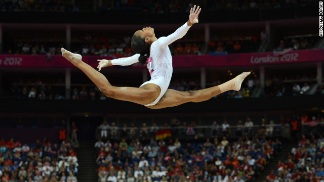 U.S. gymnast Gabrielle Douglas performs during the women's beam final at the London Olympics on August 7.
