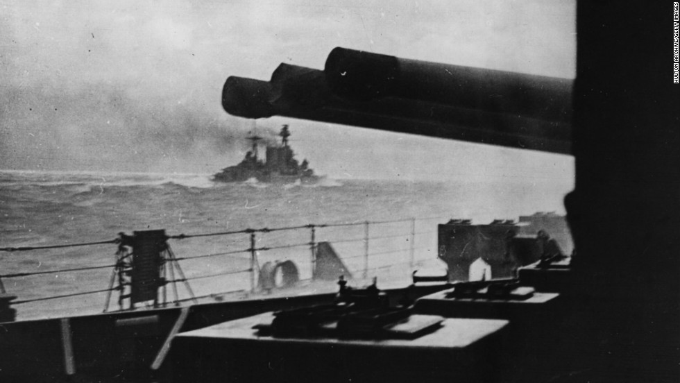 May 5, 1941: The last picture of HMS Hood as seen from HMS Prince of Wales as she went into action against the German battleship Bismarck