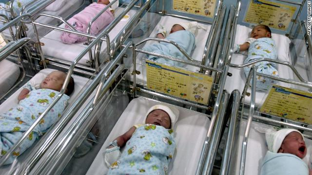 A group of babies lie in a private hospital in Medan, born both through natural birth and caesarean section births on November 11, 2011. More births and weddings took place in Indonesia, the world's most populous Muslim country on the date '11/11/11' in the belief that it is the most auspicious day in a century and being born and wed on this date is seen as most fortunate. AFP PHOTO / SUTANTA ADITYA (Photo credit should read SUTANTA ADITYA/AFP/Getty Images)