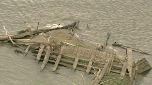 Low river level reveals historic ship