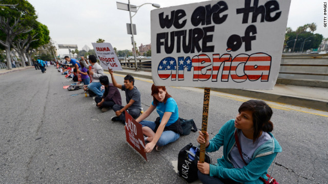 Student demonstrators in Los Angeles call for immigration reform and an end to deportations on June 15, 2012.