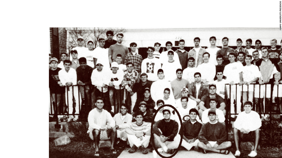A more grown-up Ryan, center, bottom row, appears in 1992 with his Miami University fraternity Delta Tau Delta in the school's yearbook.