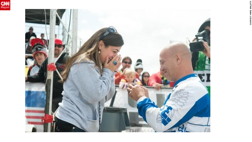 "BMX rider Todd Lyons took a knee in April at a national BMX race in Chula Vista, California, and popped the question to Mare Galletti, his girlfriend of three years. ""People constantly tell us what an awesome proposal it was and how awesome it is to have it all captured,"" Galletti said. <a href=""http://ireport.cnn.com/docs/DOC-826859"" target=""_blank"">See more on Lyons' very public proposal on Galletti's iReport</a>."