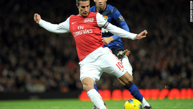Robin van Persie scores for Arsenal against Manchester United last season