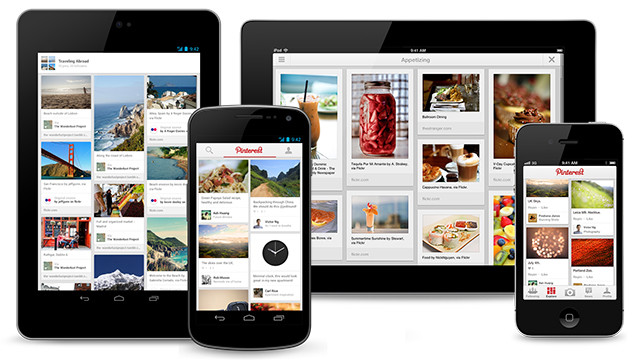 The Pinterest Android, iPad and iPhone apps.